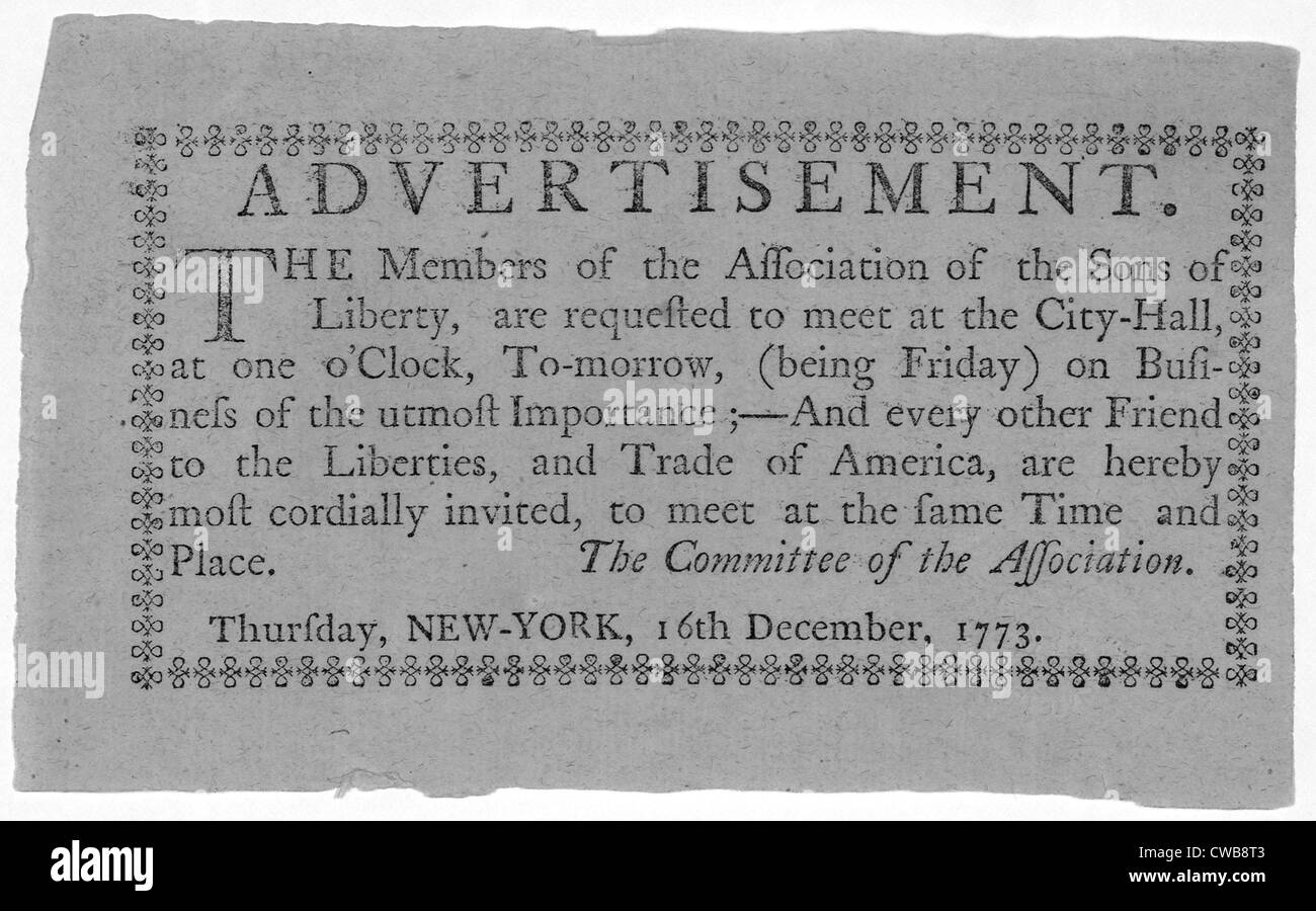The American Revolution. The members of the Association of the Sons of Liberty, are requested to meet at the City - Stock Image