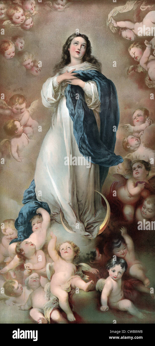 The Immaculate Conception Depicting Mary Amid Clouds And Putti