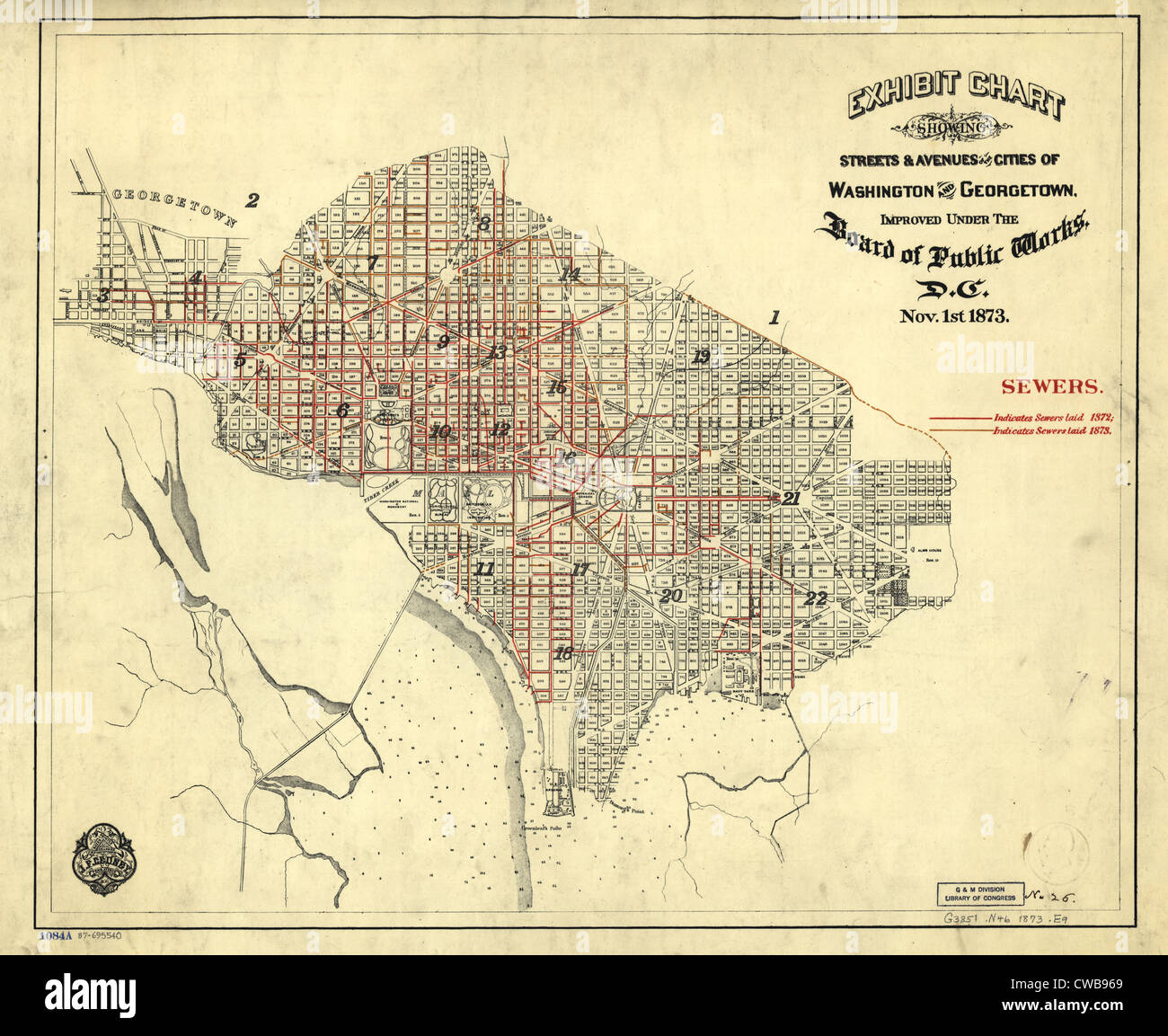Washington, D.C. Map showing the District of Columbia. 1873 Stock ...
