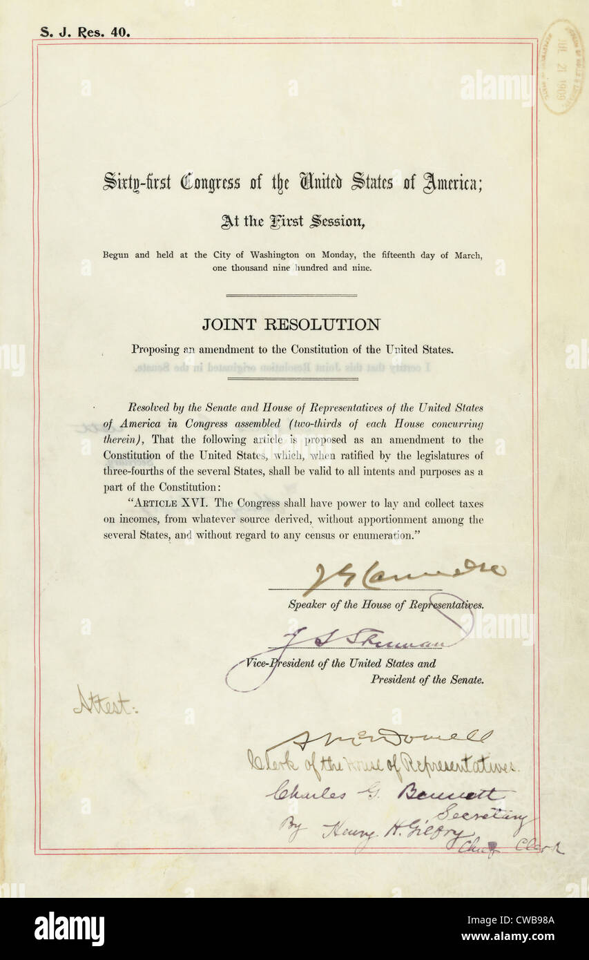 16th Amendment to the U.S. Constitution: the 16th amendment established Congress's right to impose a Federal - Stock Image