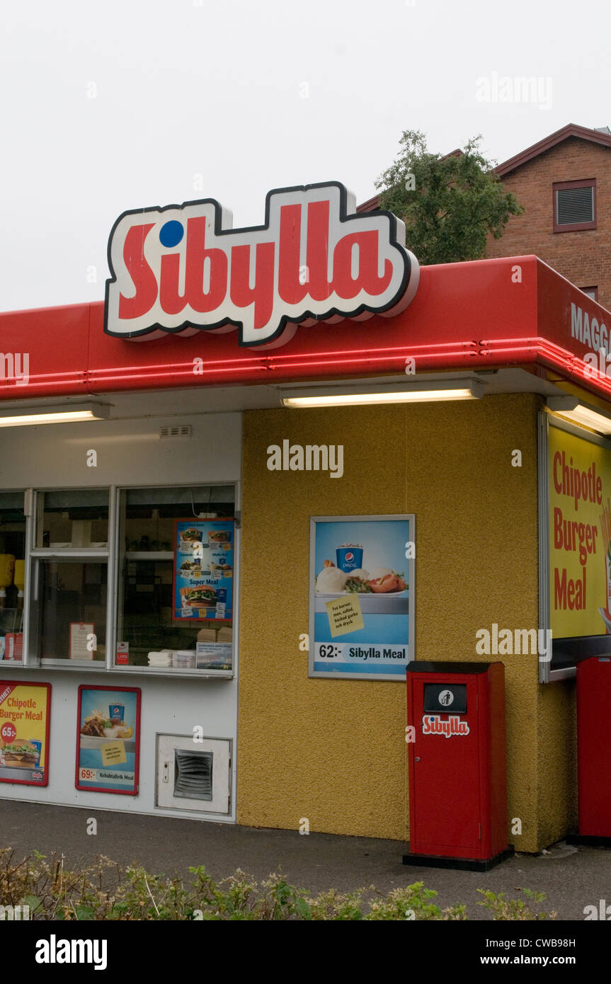 sibylla swedish fast food junk restaurant sweden kiosk - Stock Image