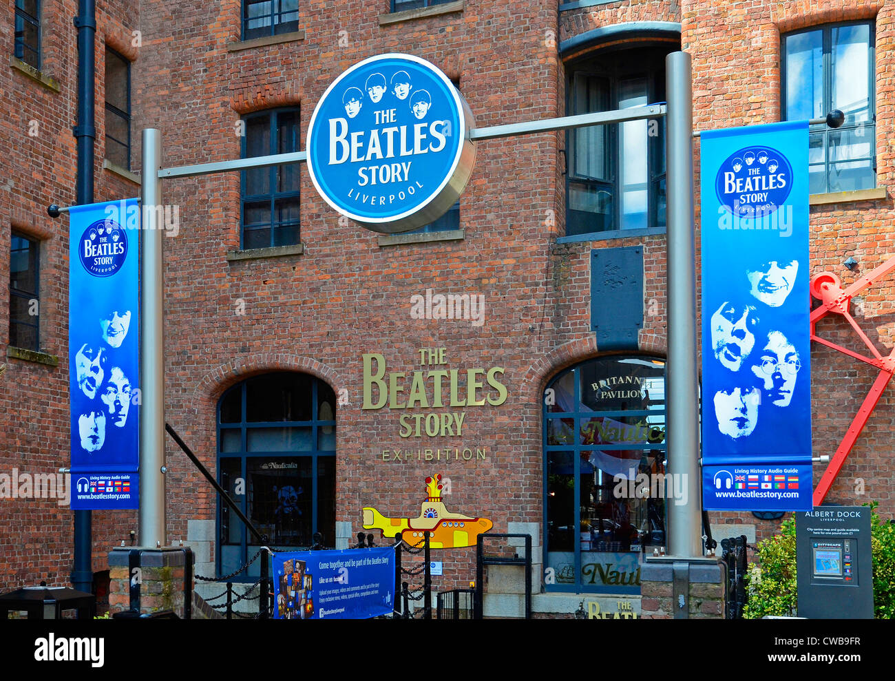 The entrance to the ' Beatles Story ' a tourist attraction on the Albert Dock in Liverpool, Merseyside, - Stock Image