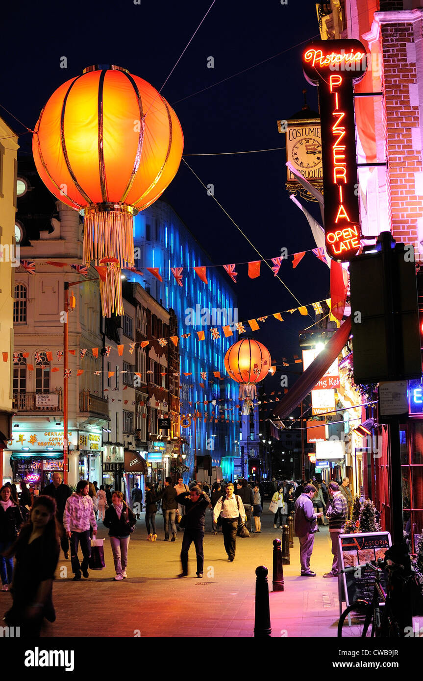 Chinatown in Wardour Street Central London at night - Stock Image