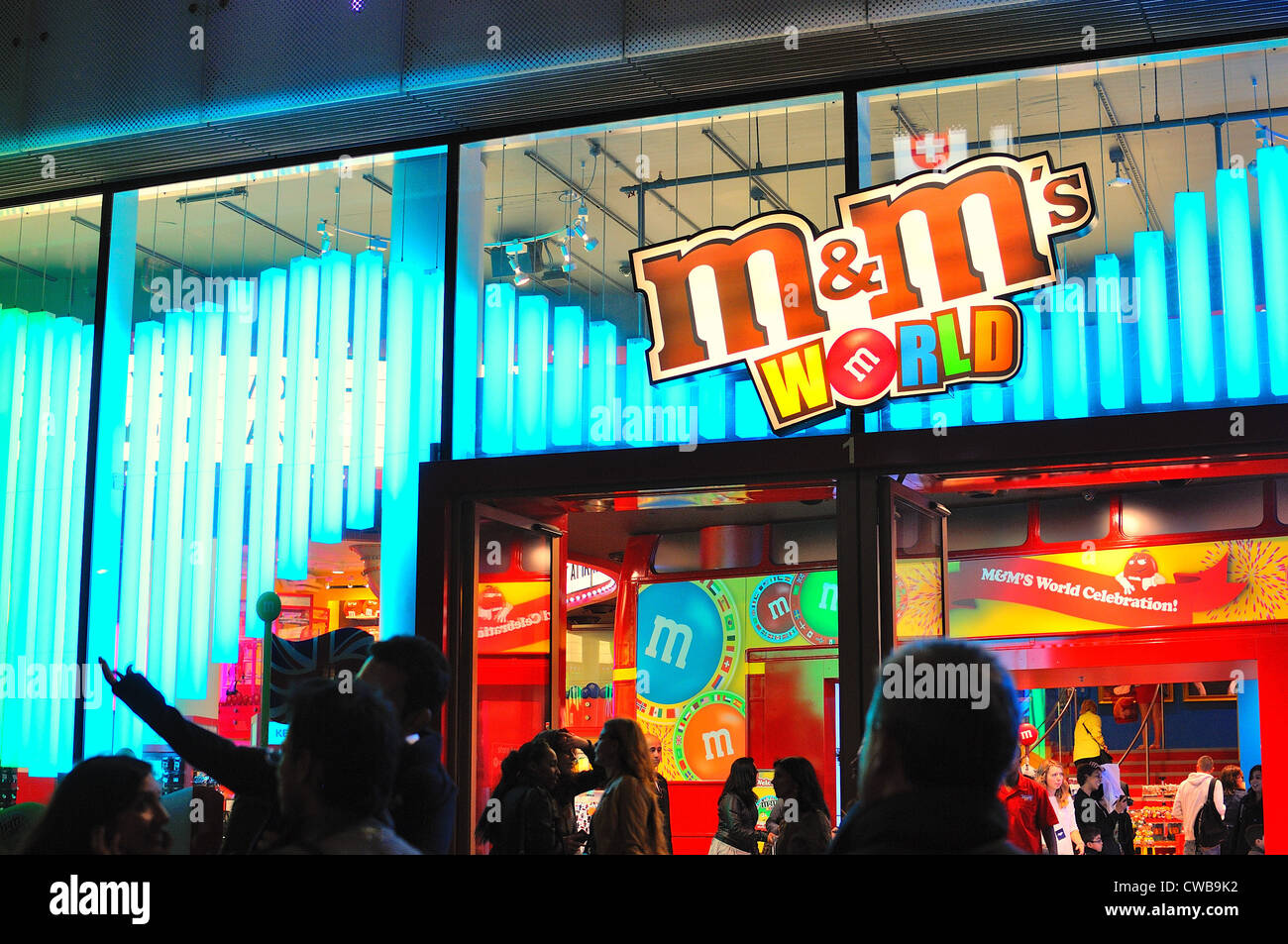 Facade of The M&M store Central London at night - Stock Image