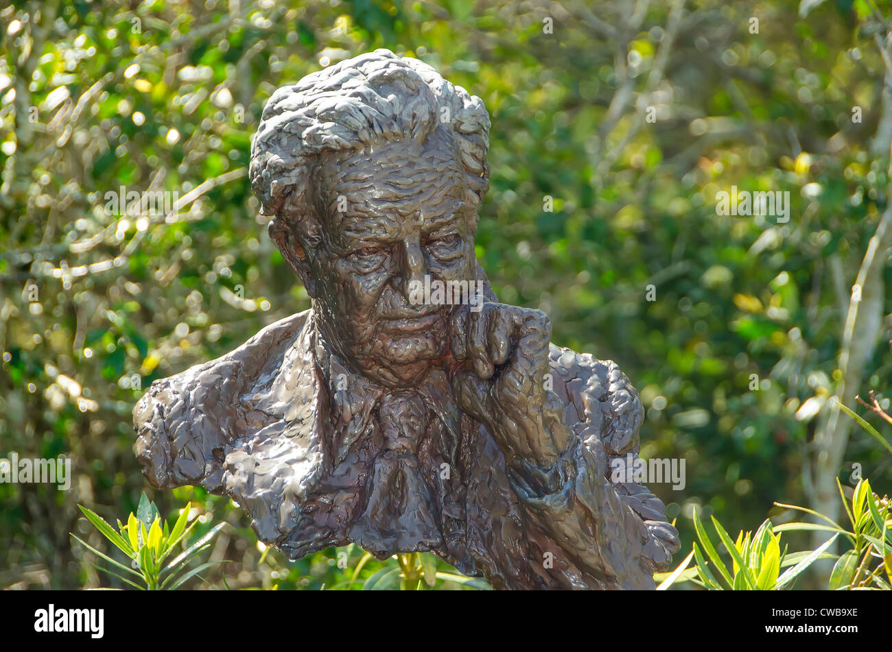 Bust of Paul Green, Pulitzer-Prize winning playwright, located at Waterside Theatre Manteo, NC, where The Lost Colony - Stock Image