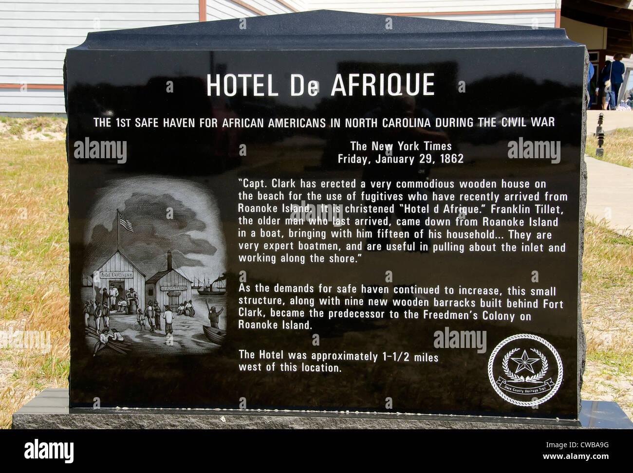 Hotel de Afrique monument Civil War era hotel for freed slaves, Graveyard of Atlantic Museum, Hatteras, Outer Banks, - Stock Image