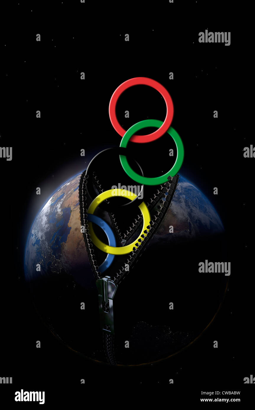 Illustration of the Olympic rings, leaving the planet earth - Stock Image