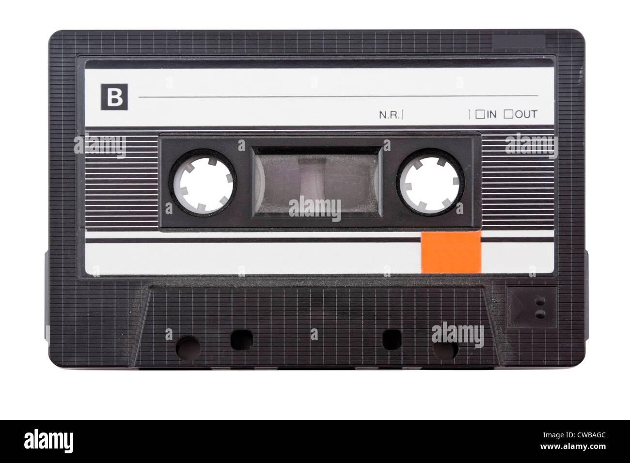 Audio cassette tape on white background. - Stock Image