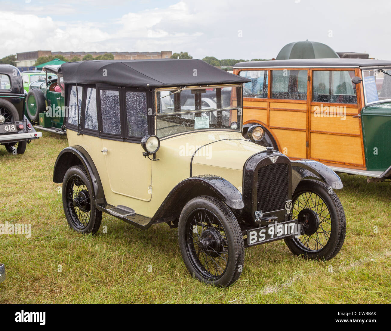 Vintage Austin car at a rally at South Cerney Airfield, Cirencester, Cotswolds, England, UK - Stock Image