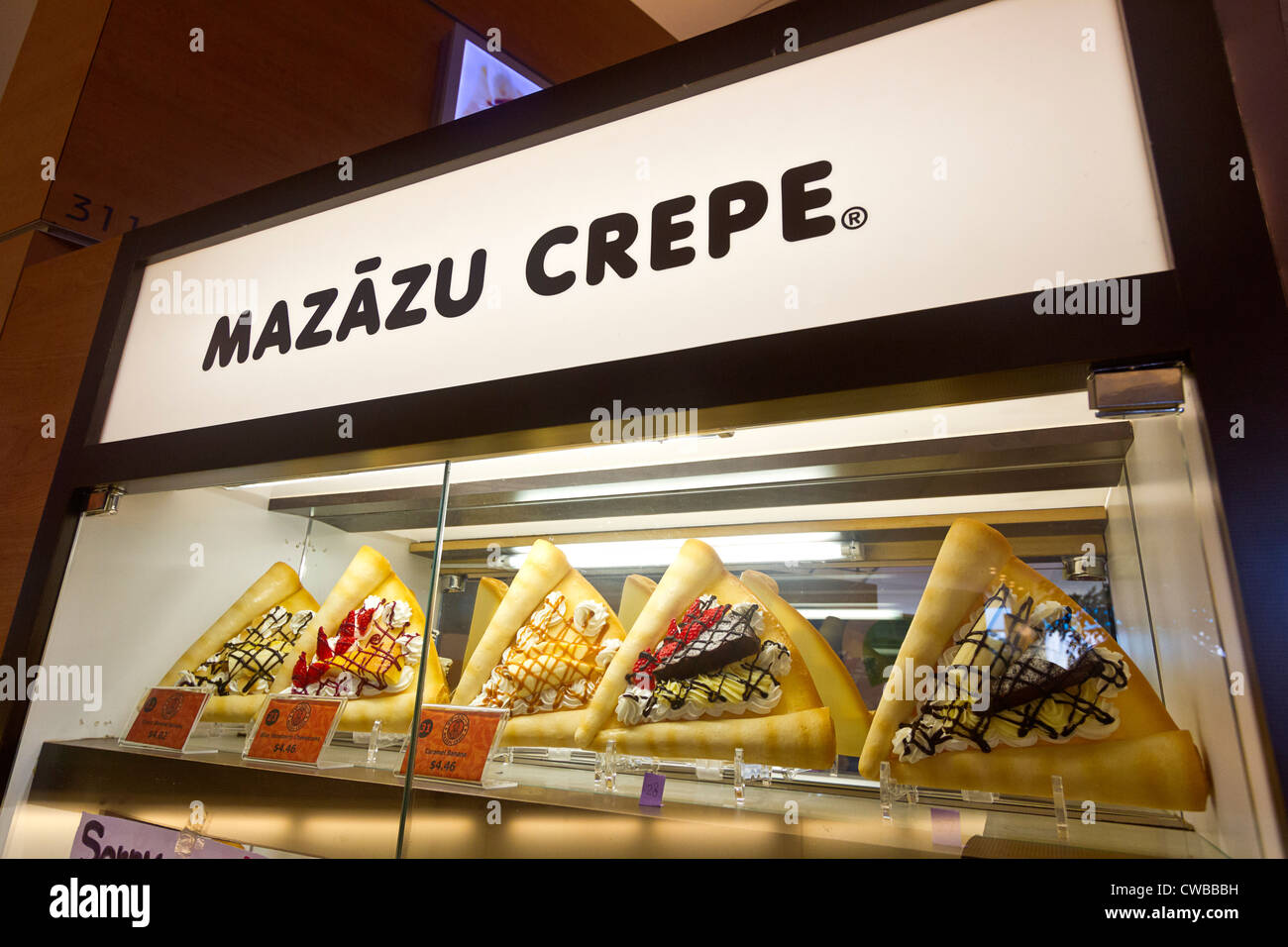 Dessert crepes for sale in a Richmond, BC, Canada shopping mall. - Stock Image