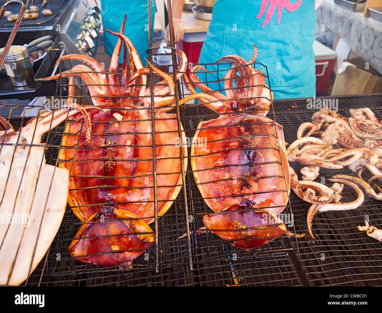 Squid served at Richmond Night Market, Richmond, British Columbia, Canada. - Stock Image