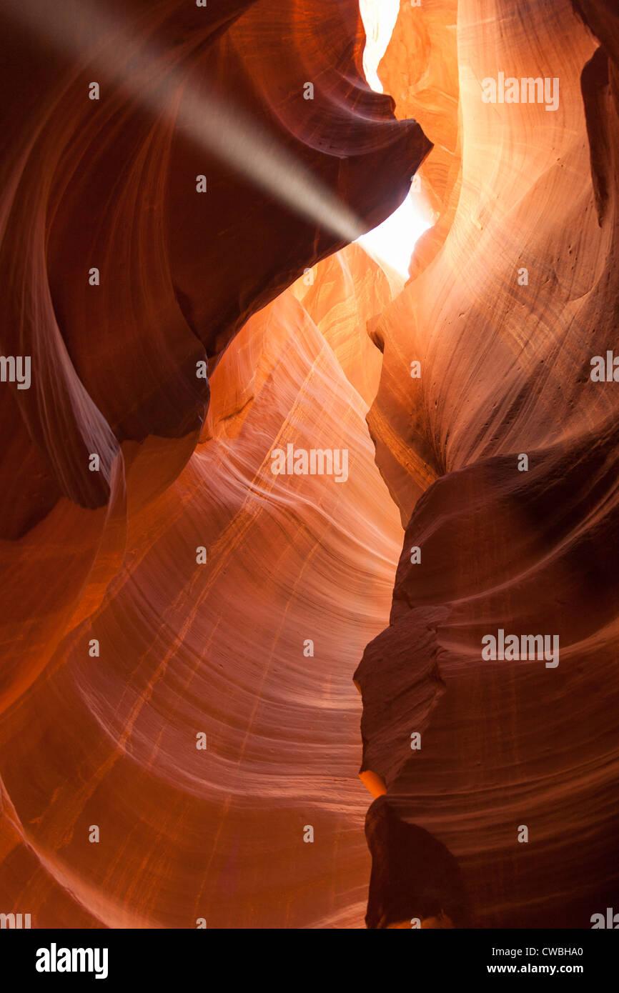 Light beam in Antelope Canyon in Arizona - USA - Stock Image