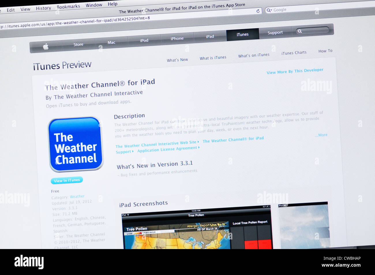 Weather Channel iPad app website Stock Photo: 50042238 - Alamy