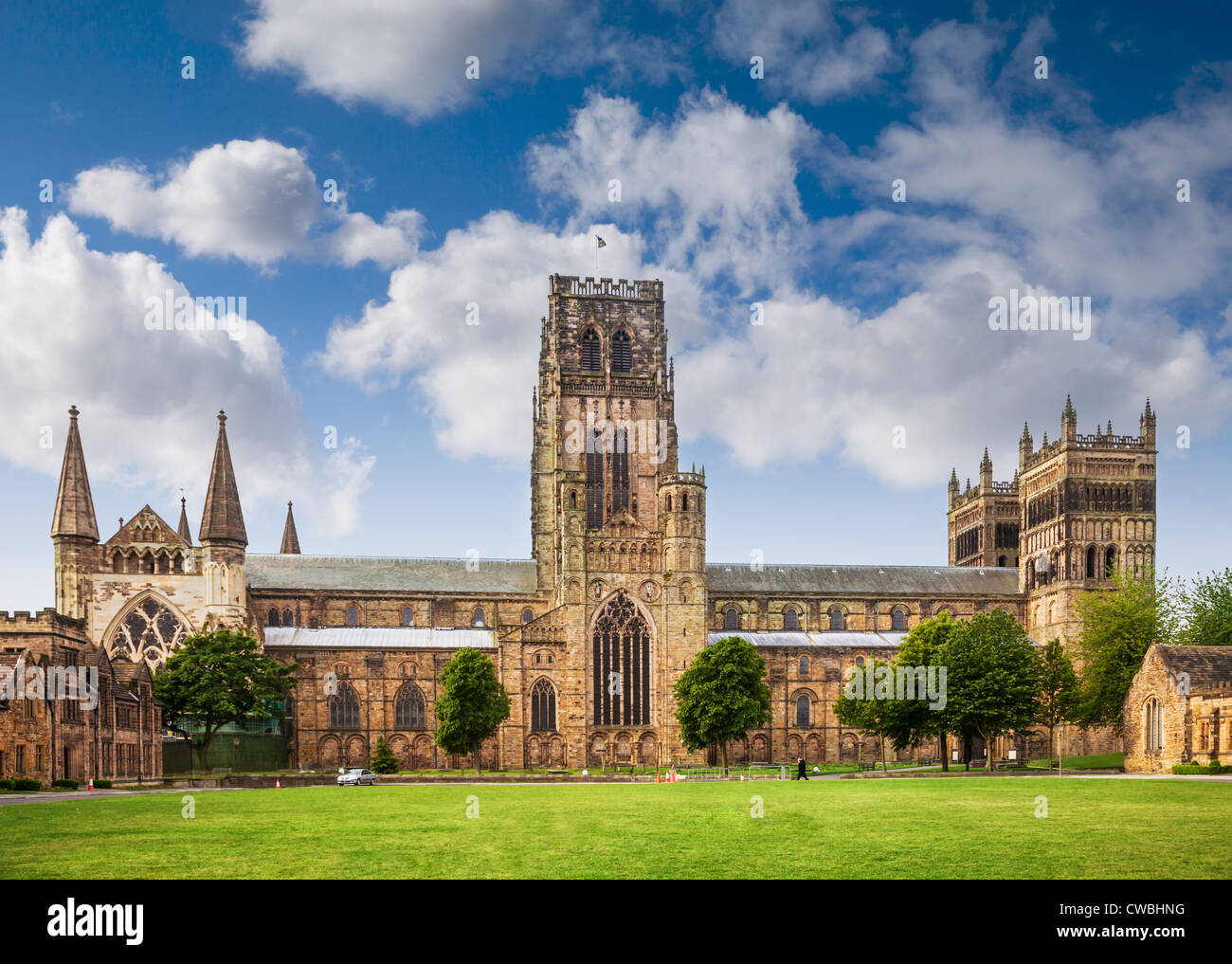 Durham Cathedral and Palace Green, Durham City, England. Stock Photo