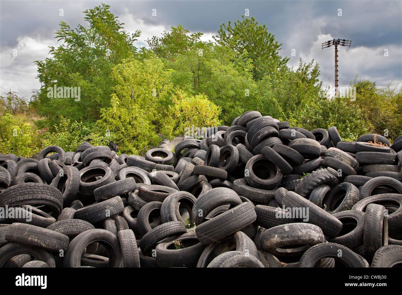 junkyard of pneumatics - Stock Image
