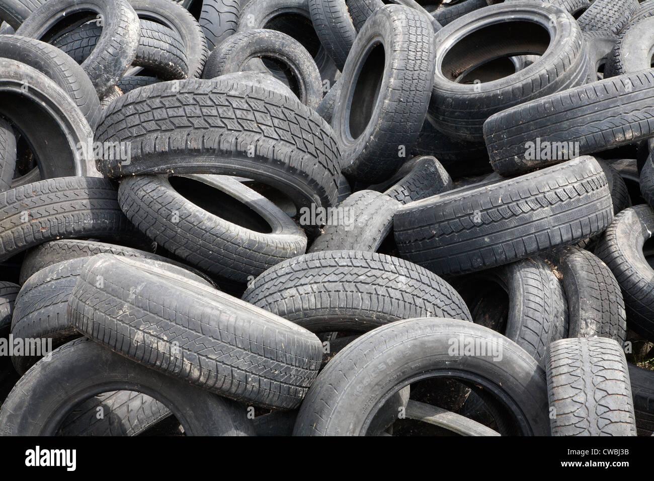detail of junkyard of pneumatics - Stock Image