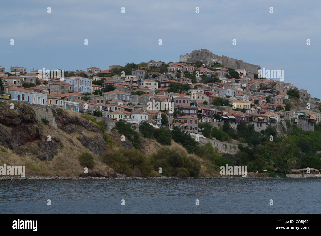 A view of Molyvos(also called Mythimna), a village on the Greek island Lesvos. - Stock Image