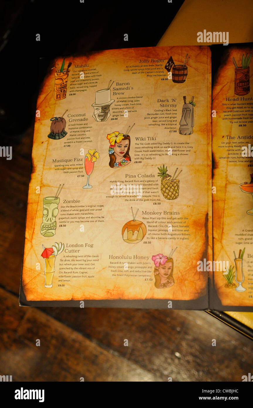 Mahiki Bar Cocktail List, Mayfair, London - Stock Image