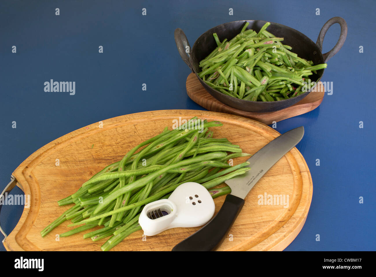 Runner Beans Fresh From The Garden Being Prepared For Cooking