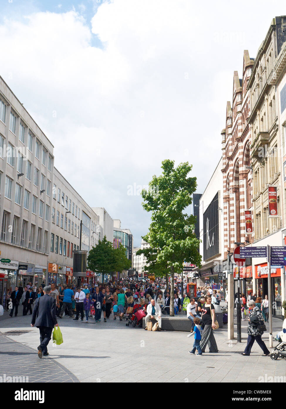 Looking towards Lord Street in Liverpool UK Stock Photo