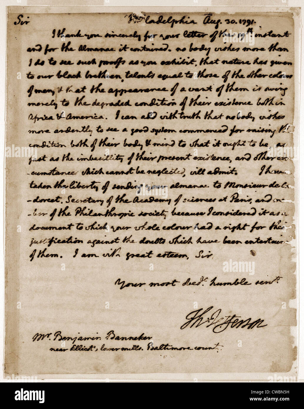 A letter by Thomas Jefferson to Benjamin Banneker (1731-1806) expressing  his belief that blacks possess talents equal to those