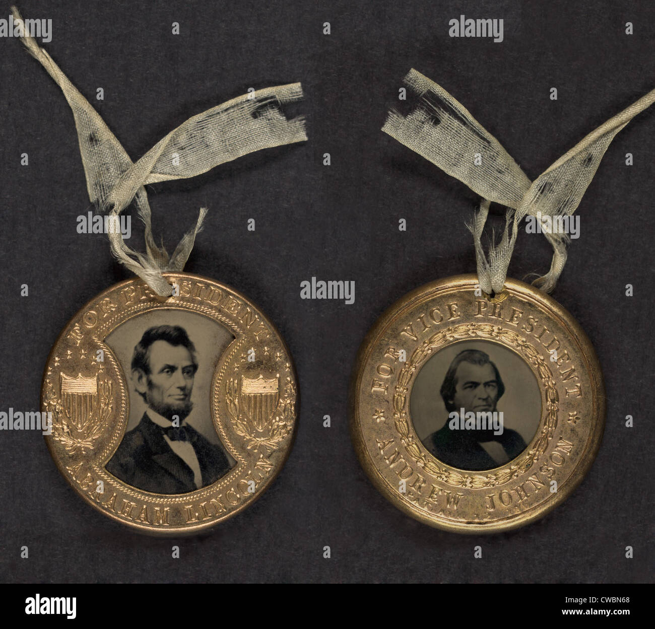 Campaign button for 1864 presidential election showing bust tintype portrait of Abraham Lincoln and Vice Presidential - Stock Image