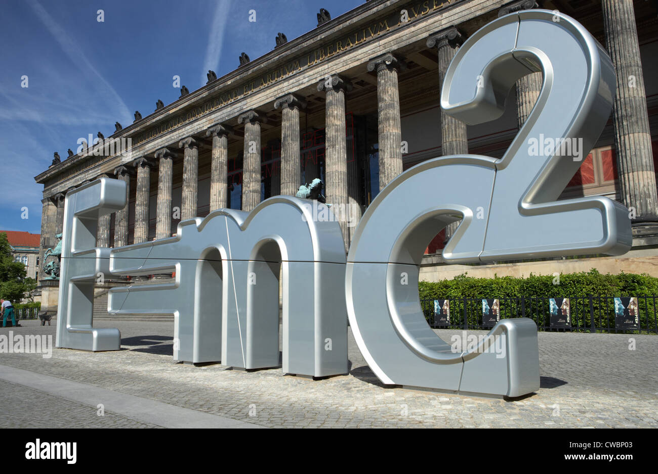 Berlin - Einstein formula of relativity as sculpture - Stock Image