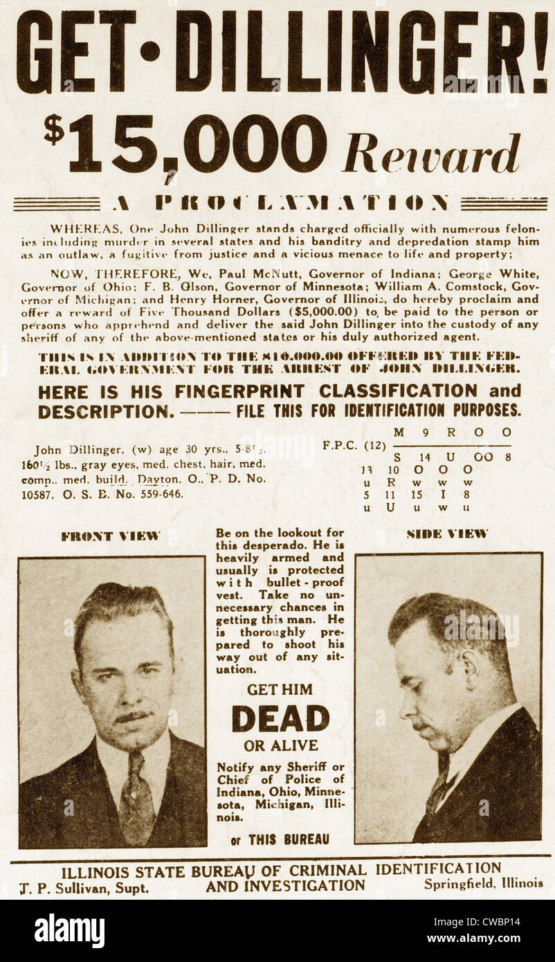 Wanted Poster for John Dillinger, offering $15,000 for his capture. 1934. - Stock Image