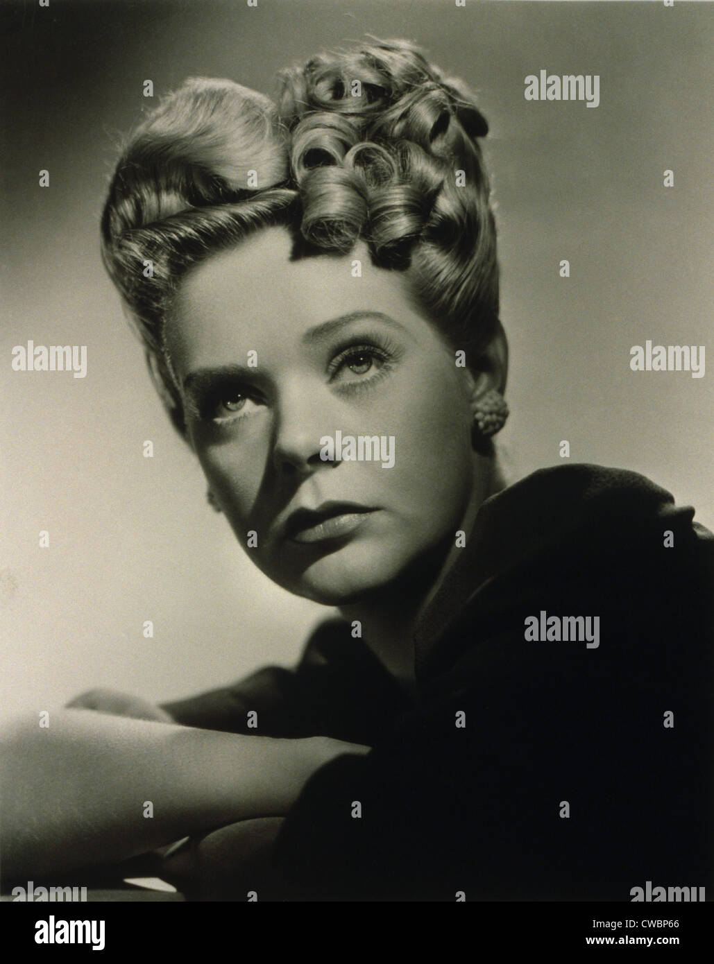 Alice Faye (1915-1998) American singer and actress, in the hairstyle she wore in the 1943 movie, THE GANG'S - Stock Image