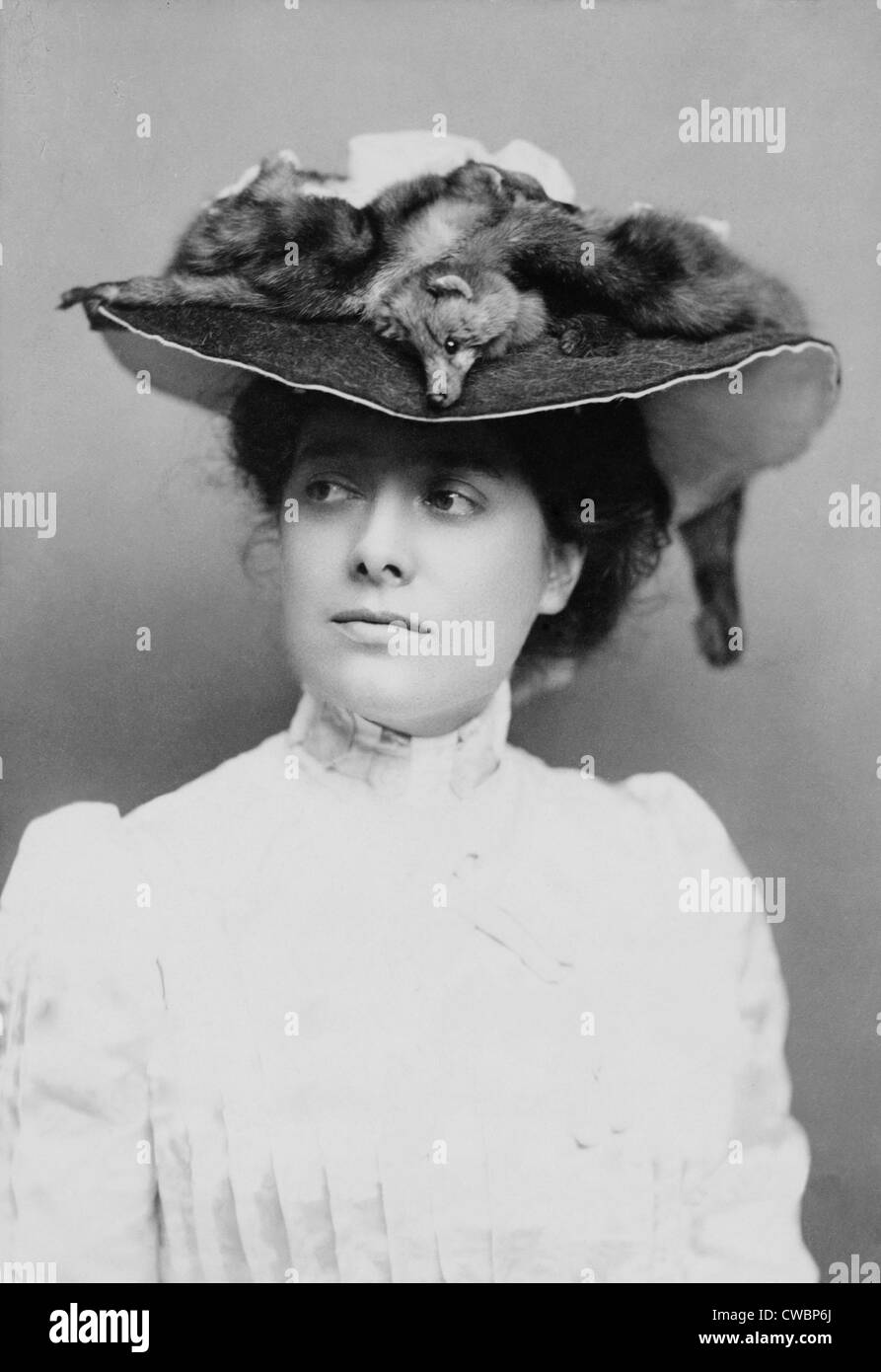 Julia Marlowe (1865-1950), English born American actress in an elaborate hat decorated with fox skins. 1882. - Stock Image