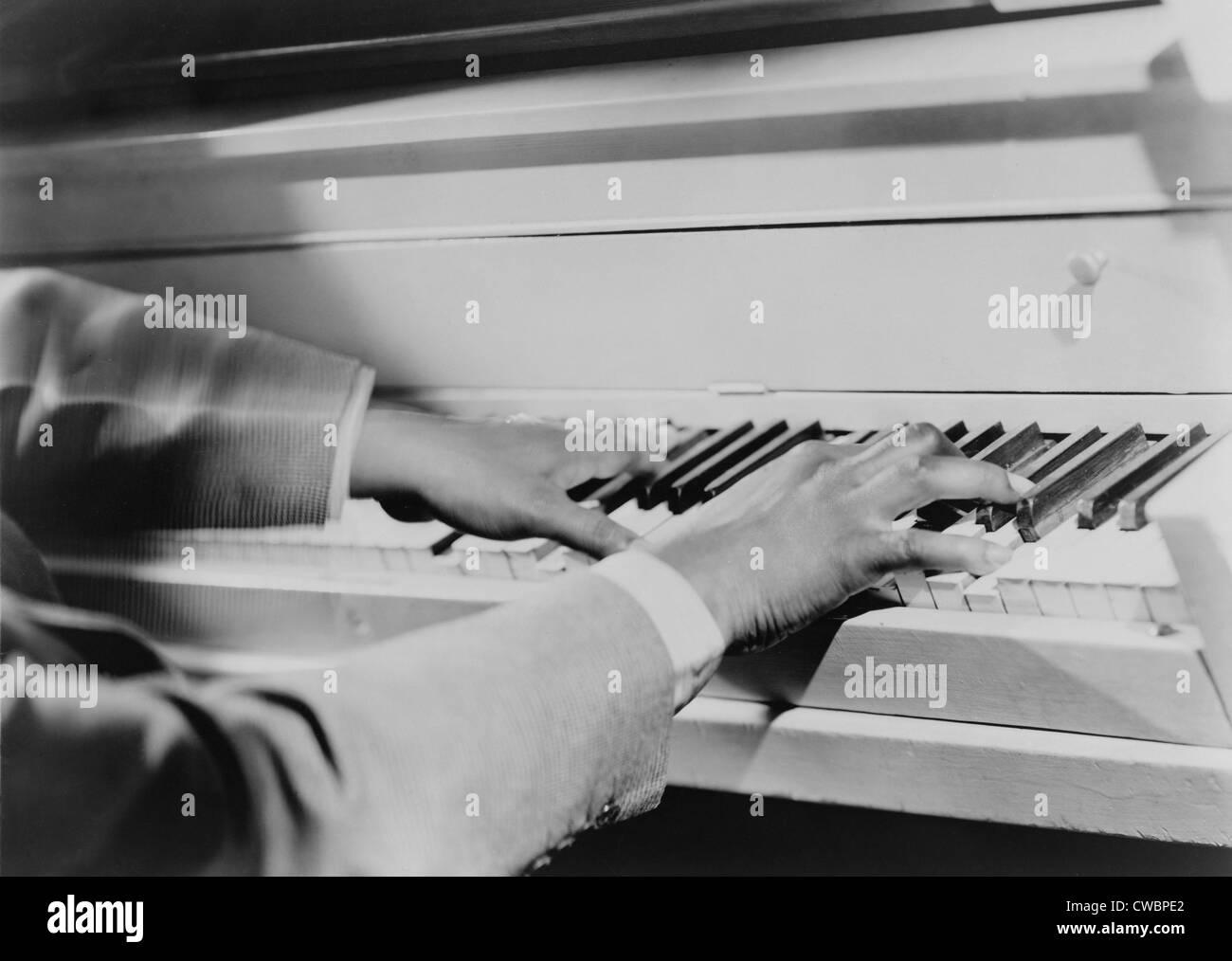 The magic fingers of Art Tatum (1909-1956), African American virtuoso jazz pianist.  Tatum, a blind musician influenced - Stock Image