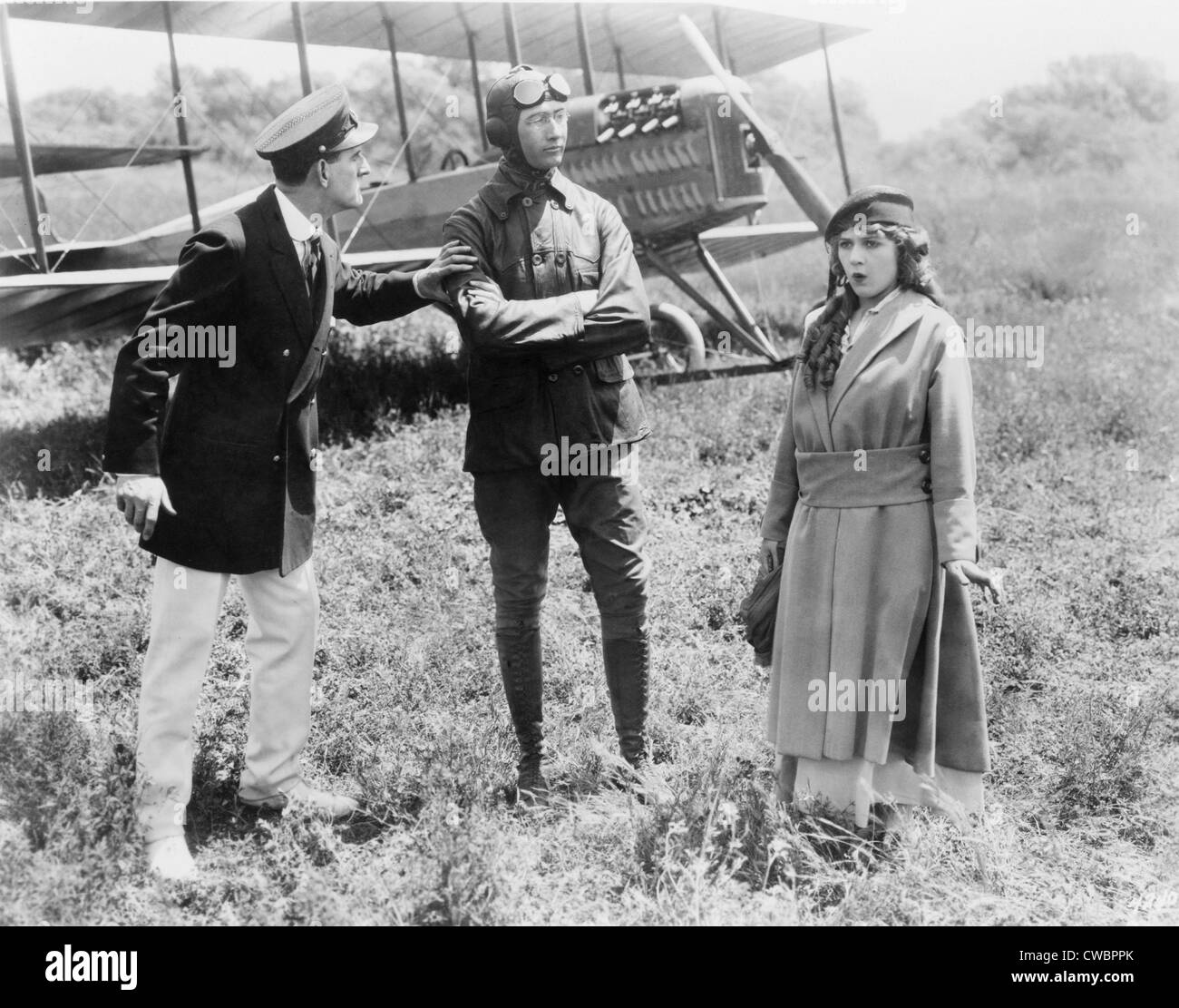 Mary Pickford and Glenn Martin, aviation pioneer, from scene of motion picture GIRL OF YESTERDAY (1915). - Stock Image