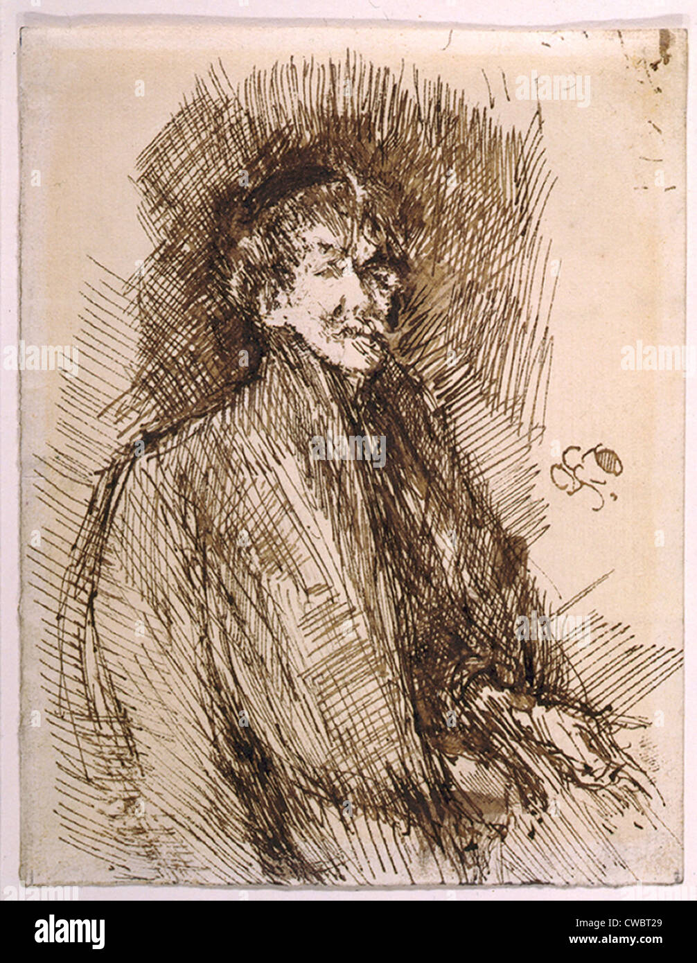 James McNeill Whistler (1834-1903), self-portrait drawn in his abstracted impressionist style. Ca. 1899. - Stock Image