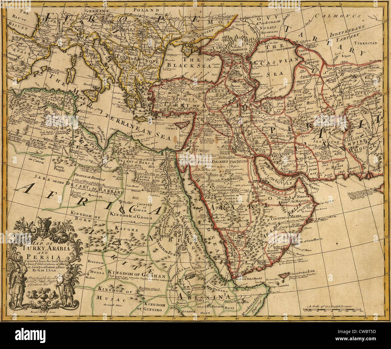 1721 map of turkey arabia and persia and environs including northeast africa southern europe and southwest asia