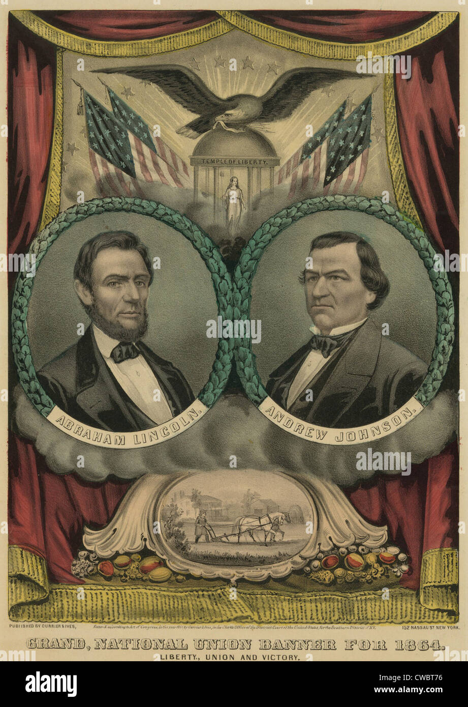 Campaign banner for 1864 Republican presidential candidate Abraham Lincoln and running mate Andrew Johnson. Johnson - Stock Image