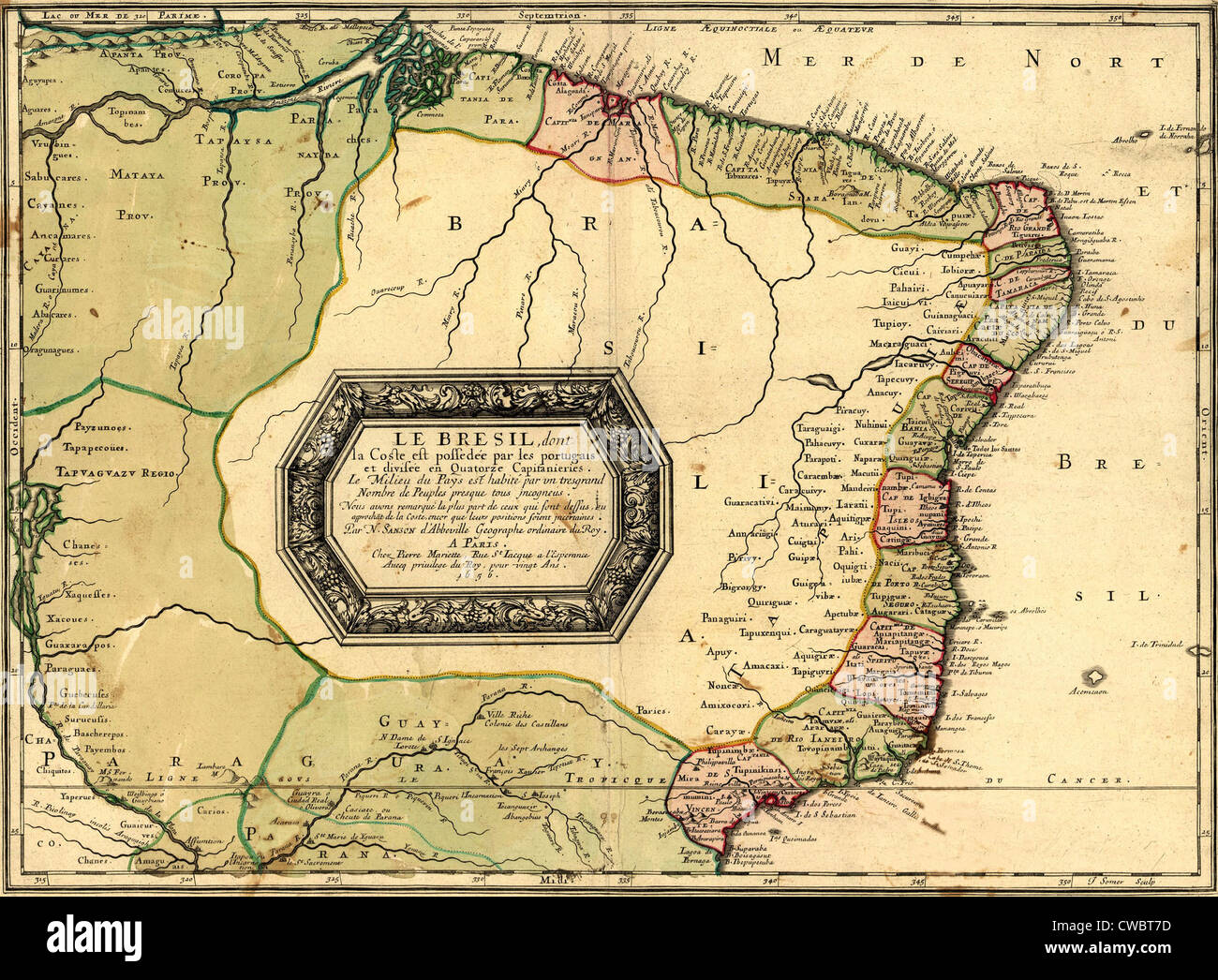 Historical Map Definition 1756 map of Brazil, showing geographic definition on the coast