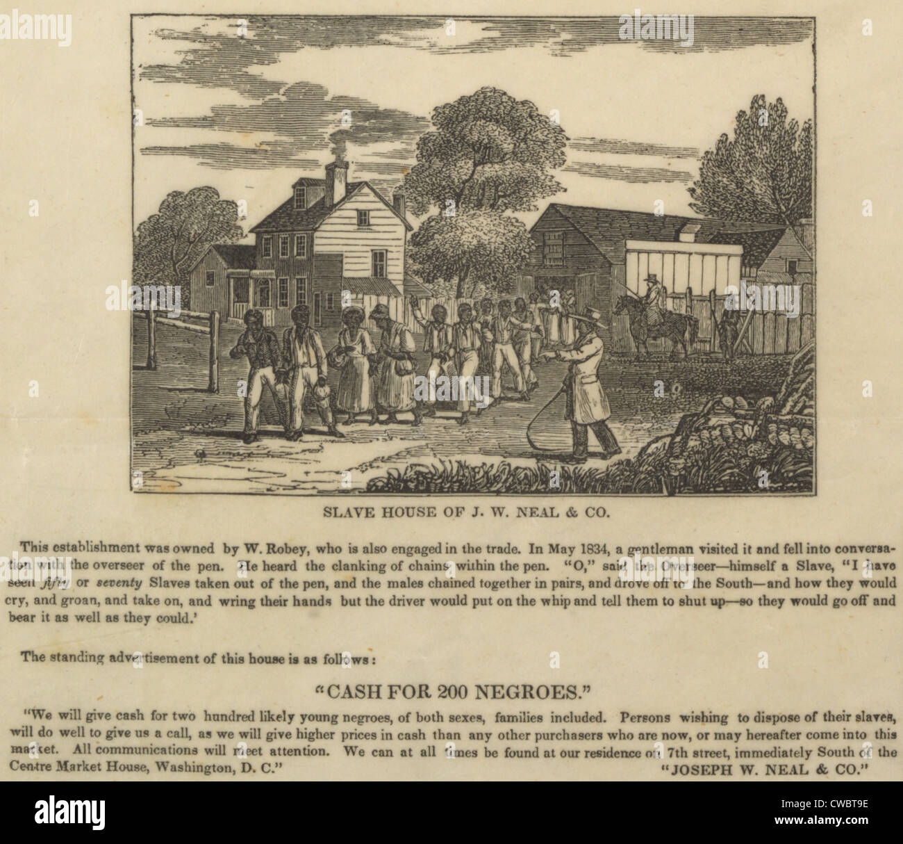 A slave coffle setting out from the business of J.W. Neal in Washington, D.C. in the 1830s. Neal was a dealer who - Stock Image