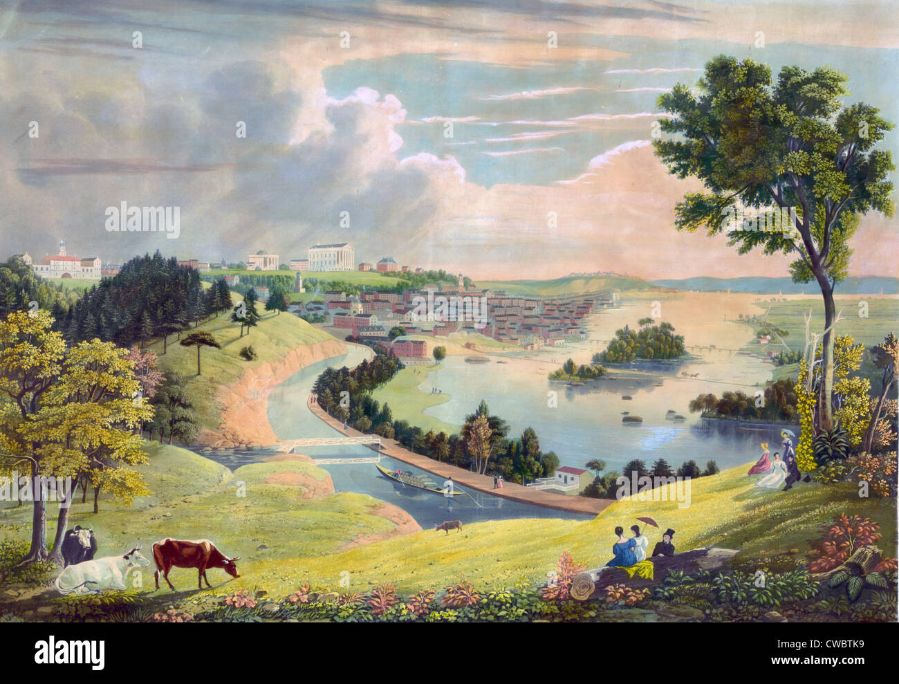 Richmond, Virginia, from the hill above the waterworks. 1834 - Stock Image