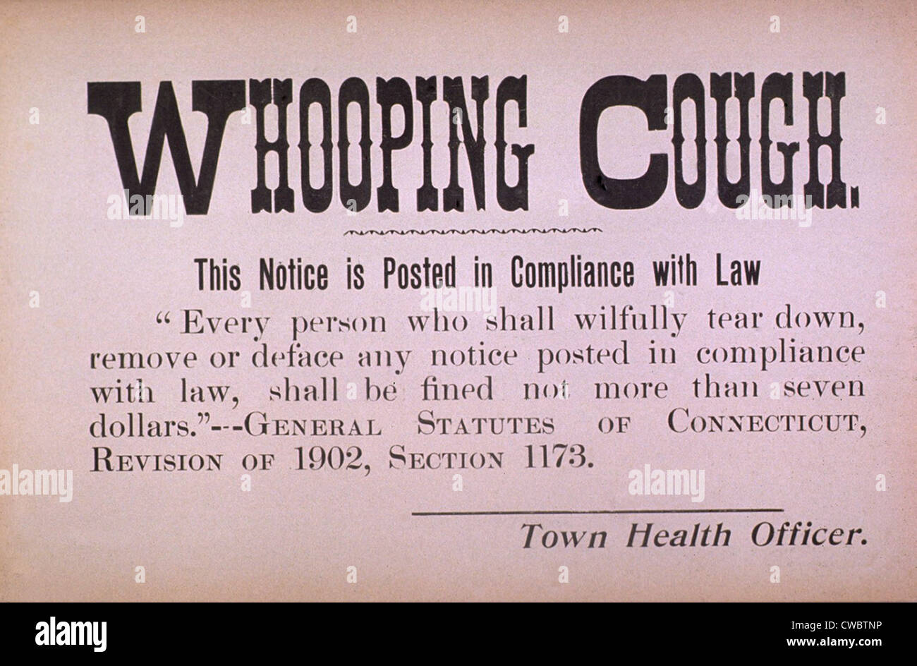 Early 20th century quarantine sign for the contagious disease whooping cough. - Stock Image