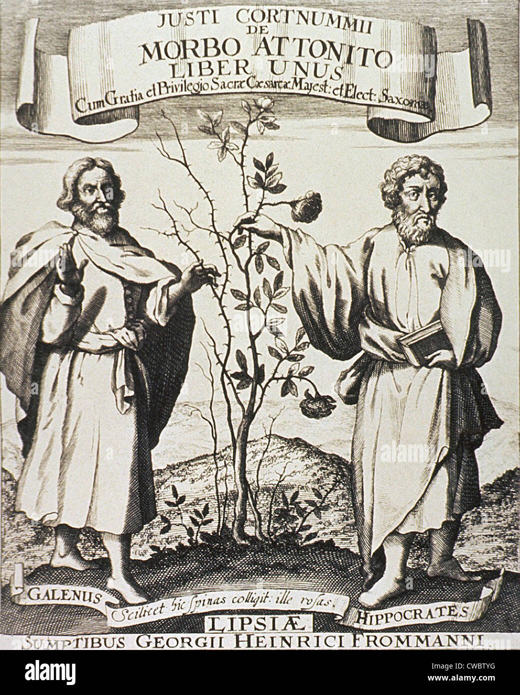 Hippocrates (on right) and Galen. Where Hippocrates touches the rosebush it flowers, whereas Galen's side is - Stock Image