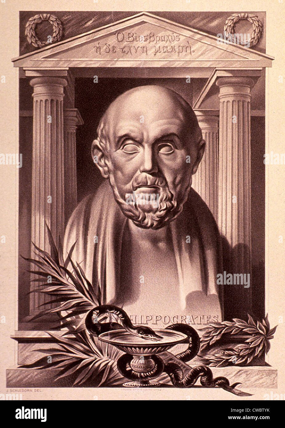 Hippocrates (460-375 BC). 20th century lithograph by Julius Schledorn. - Stock Image