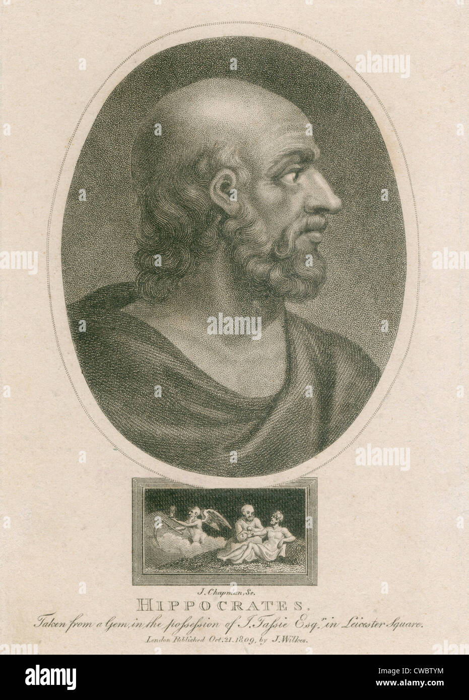 Hippocrates (460-375 BC). Engraving from a ancient gemstone. Ca. 1800 by J. Chapman. - Stock Image