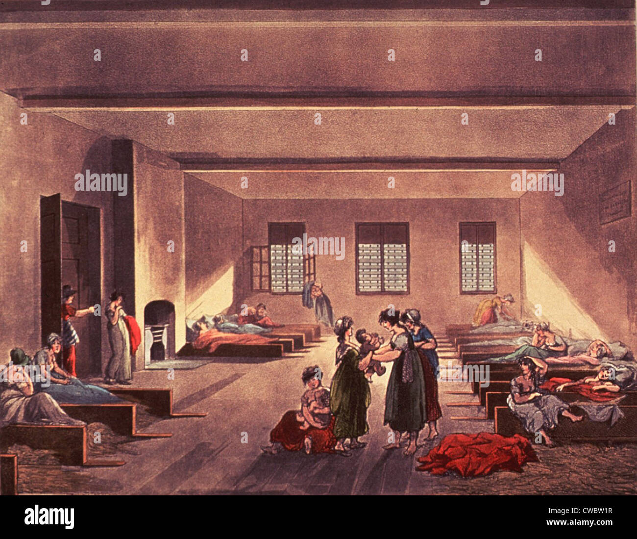 Detention room in London's Bridewell Hospital, for homeless, impoverished, and probably single or unwed mothers. - Stock Image