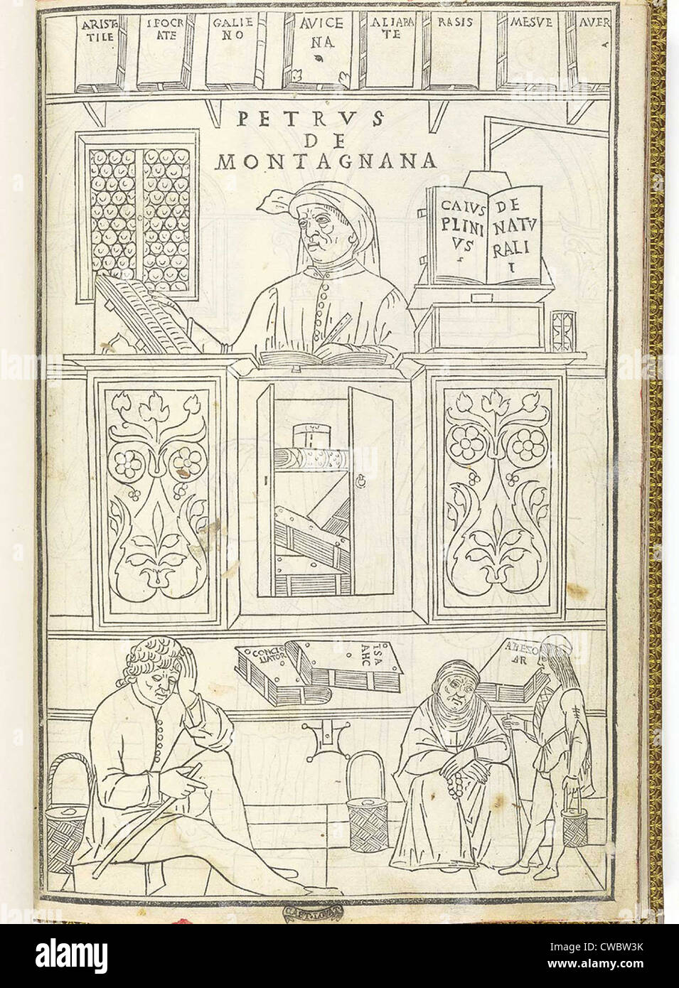 Illustration showing the breadth of medical knowledge in 15th century Italy. A medical scholar (labeled as Petrus - Stock Image