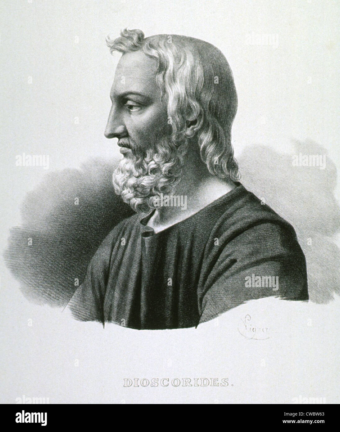 Pedanius Dioscorides (40-90 AD), Greek botanist and pharmacologist, wrote DE MATERIA MEDICA (REGARDING MEDICAL MATTERS), - Stock Image