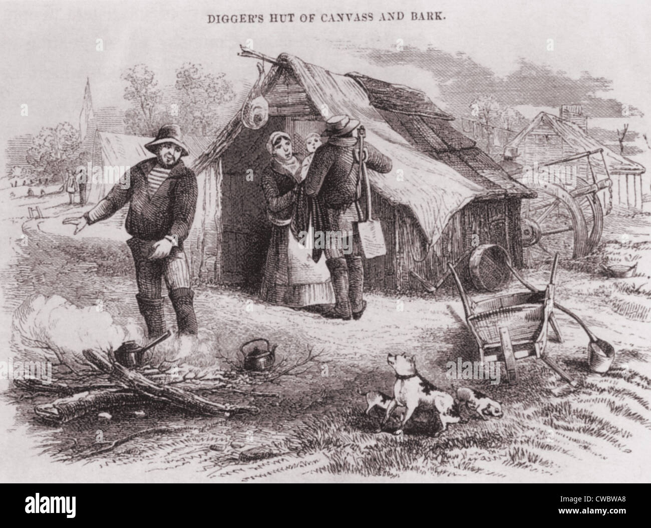 Gold diggers hut of canvas and bark in the Australian gold fields in the 1850s.   The Australian  population of - Stock Image