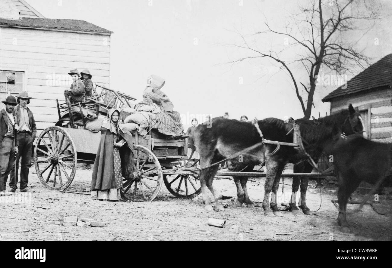 DEPARTURE FROM THE OLD HOMESTEAD, an 1862 photograph by George Barnard shows a American family on the move during - Stock Image