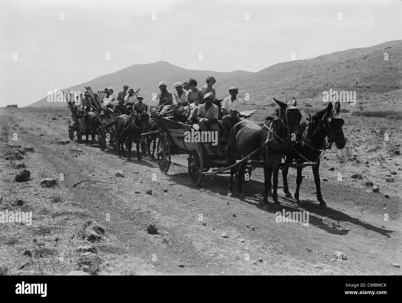 Jewish settlers arriving to establish an communal agricultural settlement, a kibbutz, in Palestine in the 1920s. - Stock Image