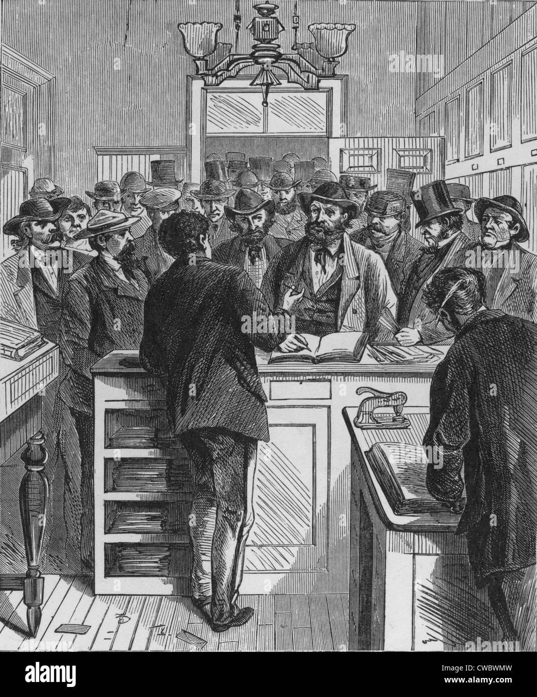 Securing Certificates of Naturalization, 1868 at New York City Hall, weeks prior to the National elections that - Stock Image