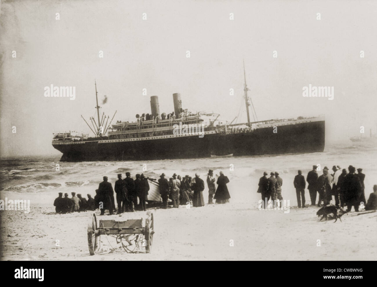 Immigrant ship from Italy, the PRINCESS IRENE, grounded in the Stock